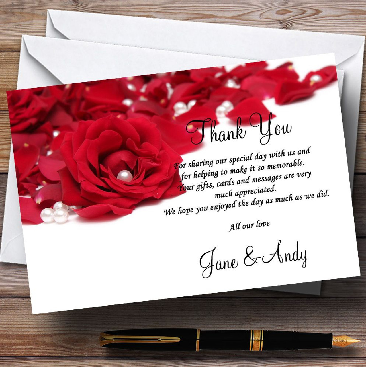 White Pearl Red Rose Petals Personalised Wedding Thank You Cards ...