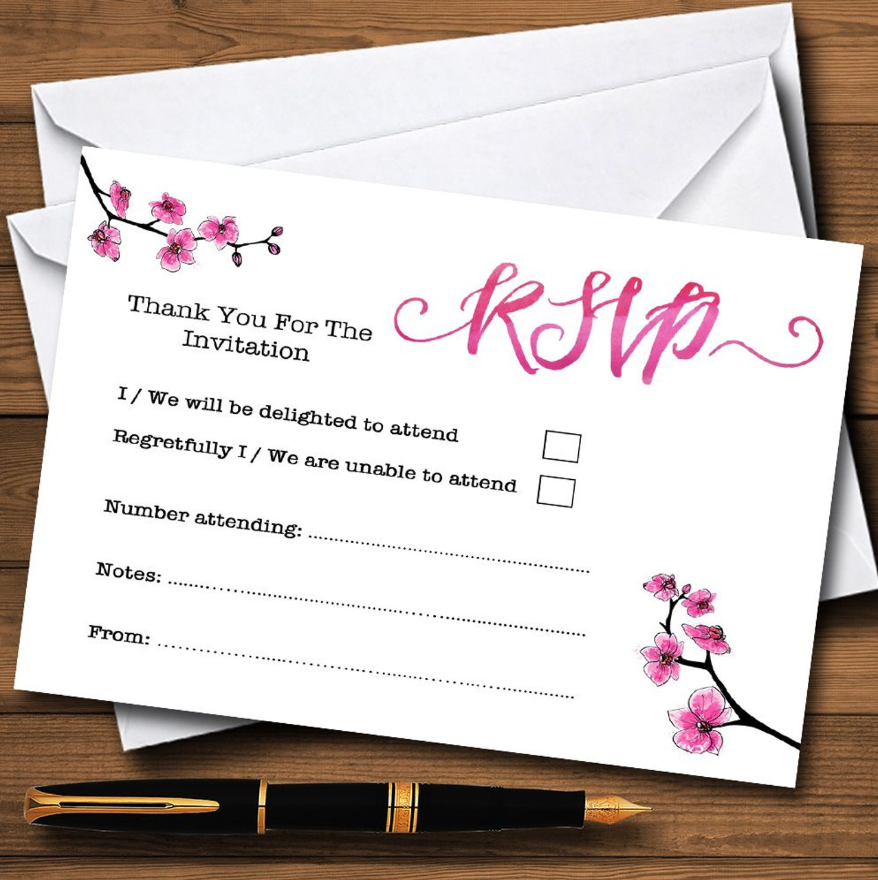 Pink Cherry Blossom Watercolour Personalised Rsvp Cards The Card Zoo