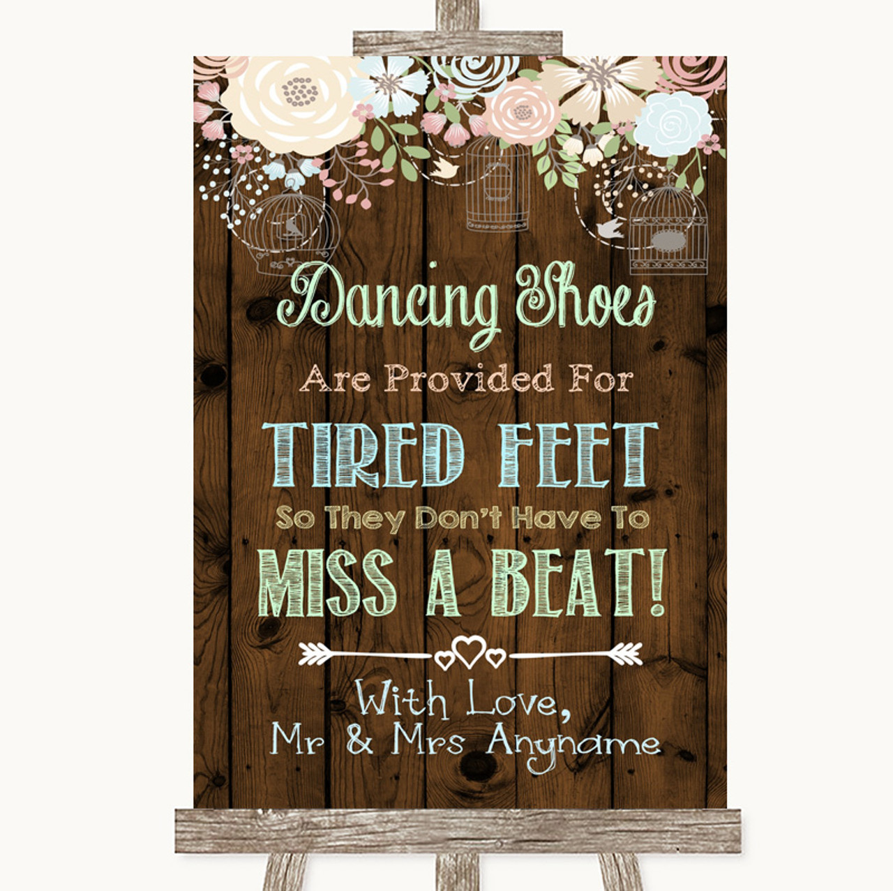 828a6dd78 Rustic Floral Wood Dancing Shoes Flip-Flop Tired Feet Personalised Wedding  Sign - The Card Zoo