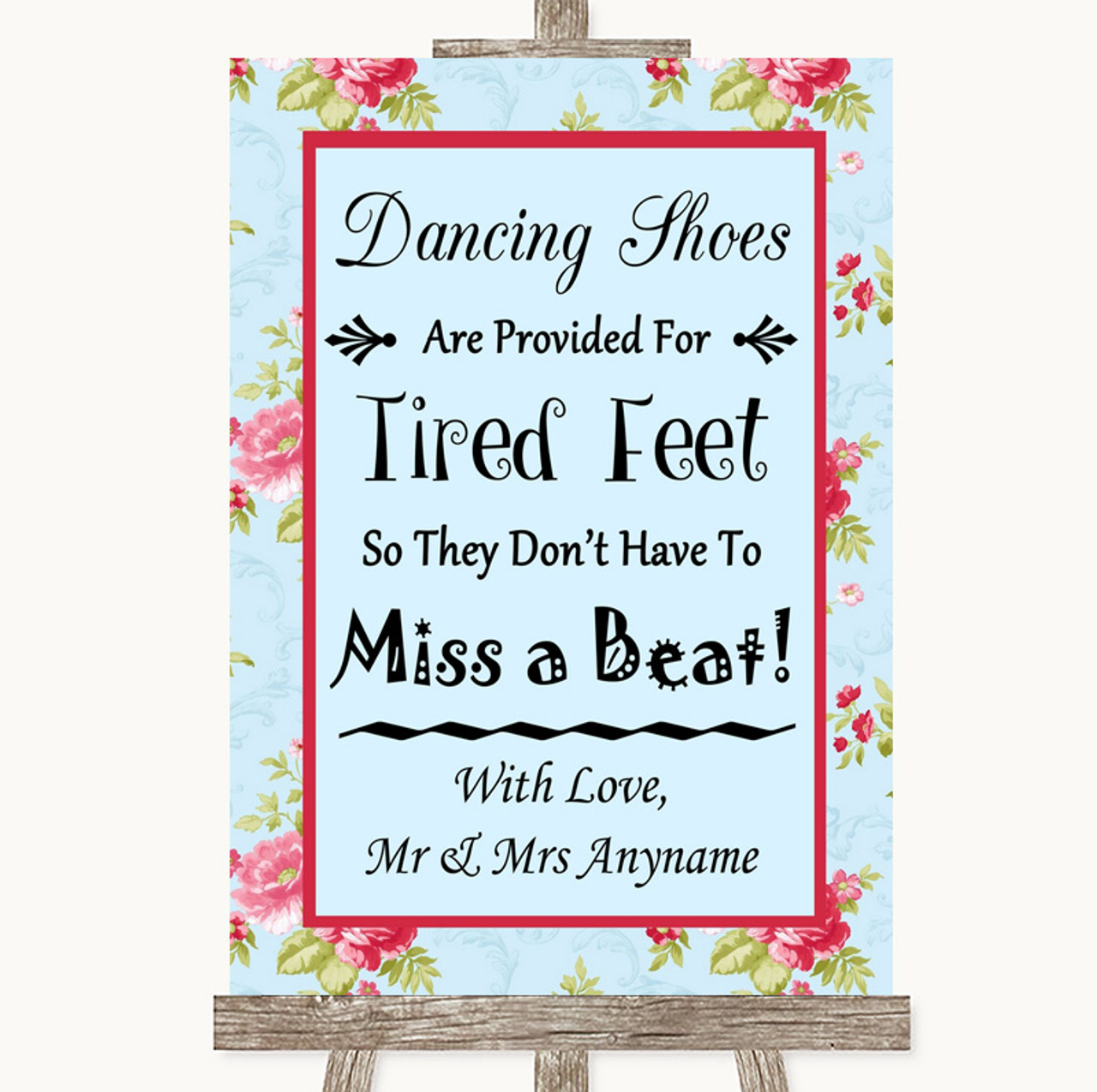 85e09bae9 Shabby Chic Floral Dancing Shoes Flip-Flop Tired Feet Personalised Wedding  Sign - The Card Zoo
