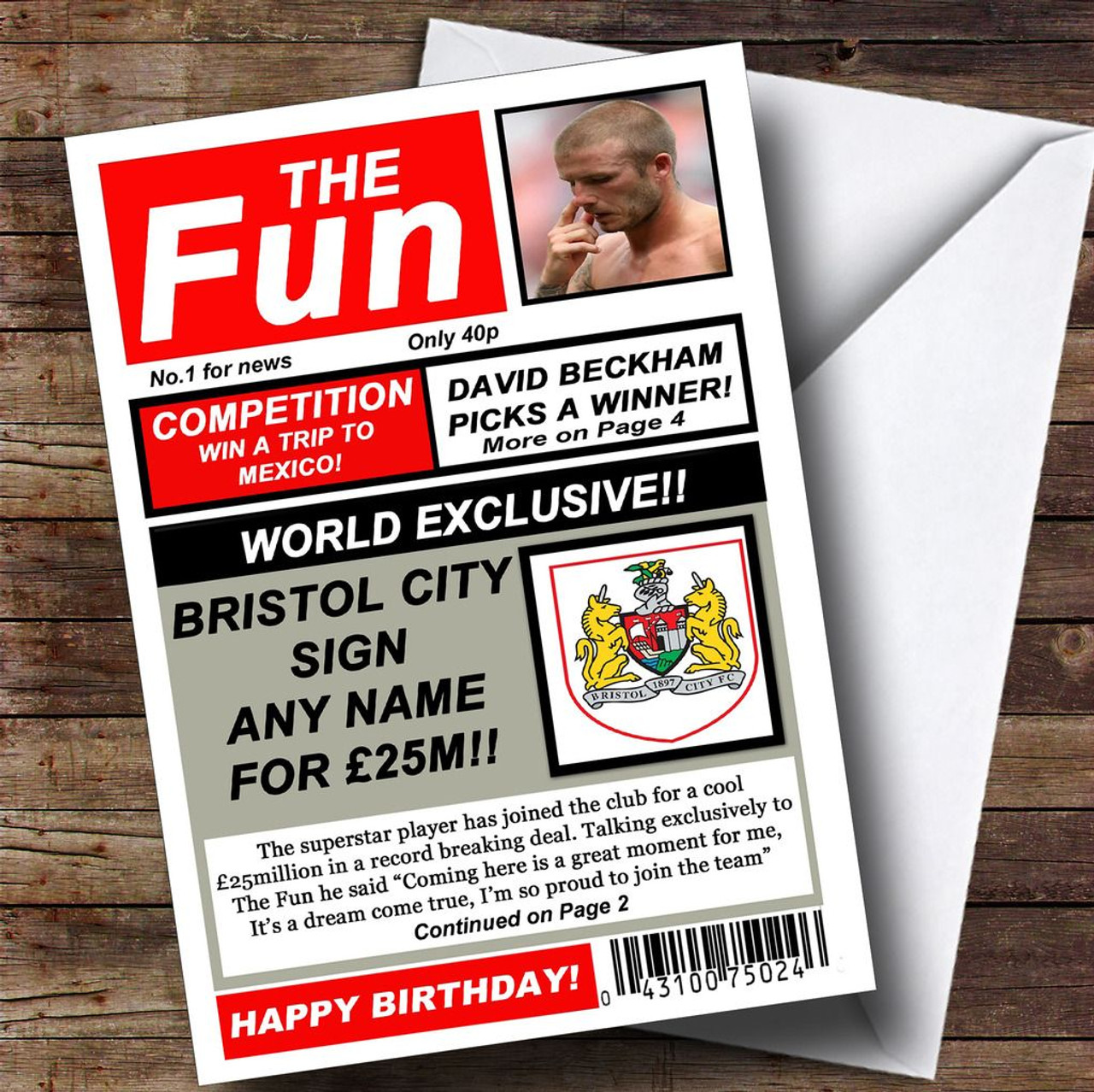 Bristol City Football Fan Funny Newspaper Personalised