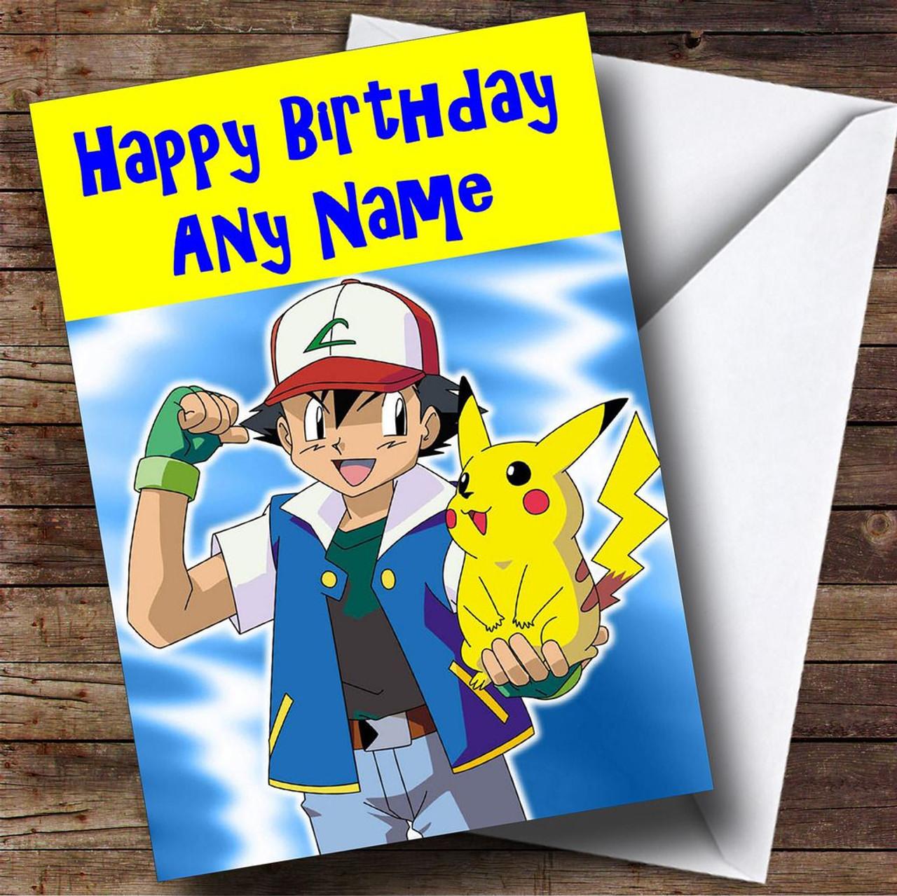 Pokemon & Pikachu Personalised Birthday Card