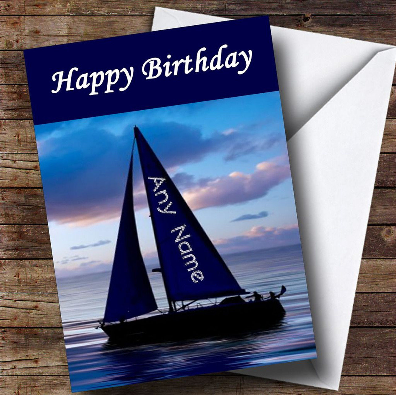 Sailing Boat Name On Sail Funny Personalised Birthday Card