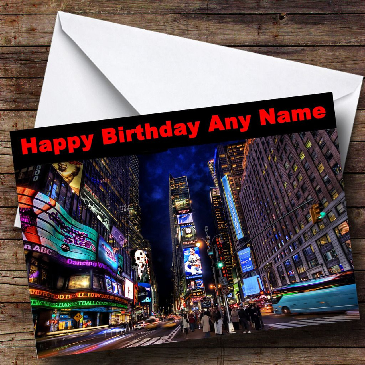 New York Times Square Personalised Birthday Card