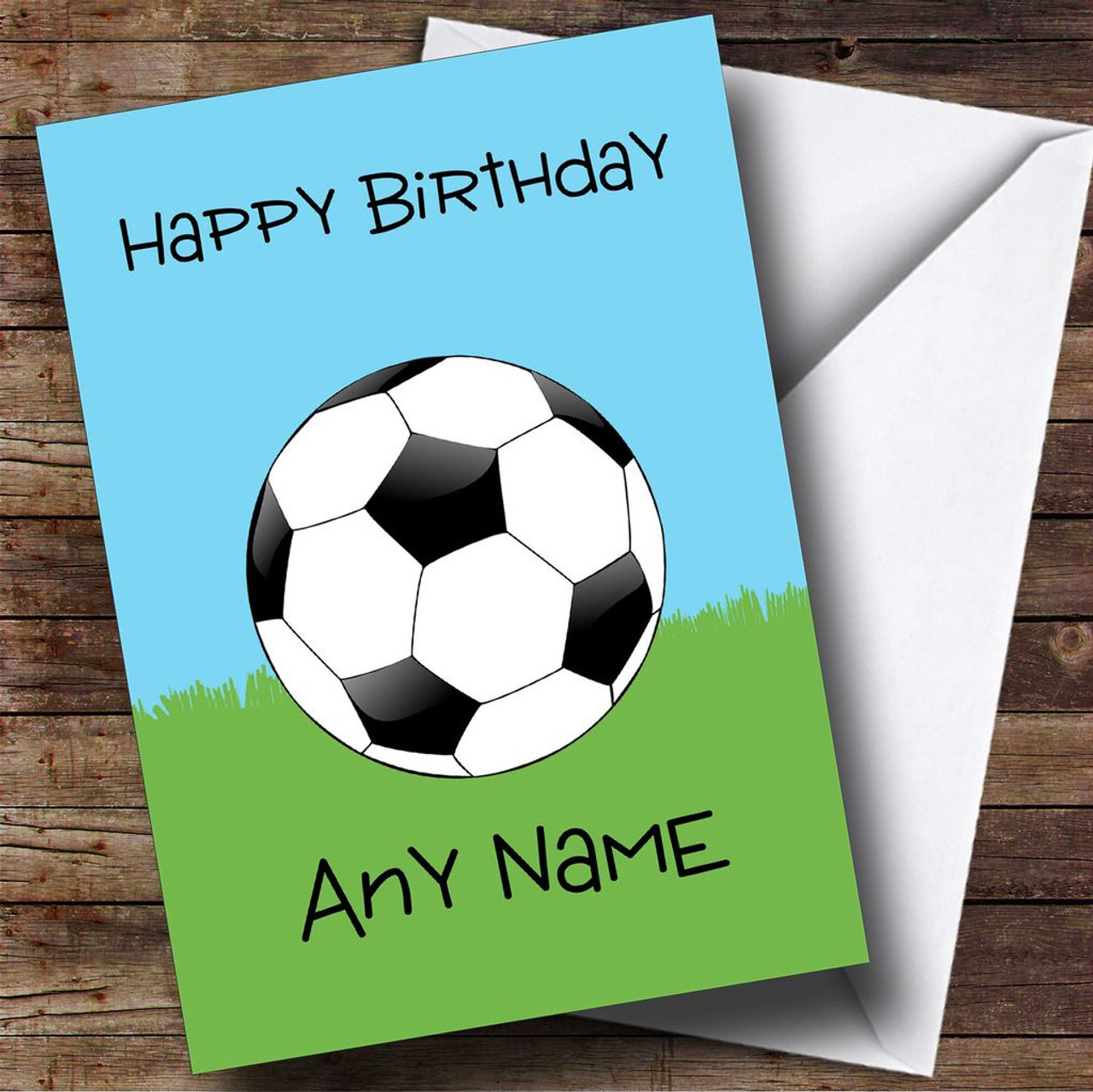 football fan ball on grass personalised birthday card the card zoo