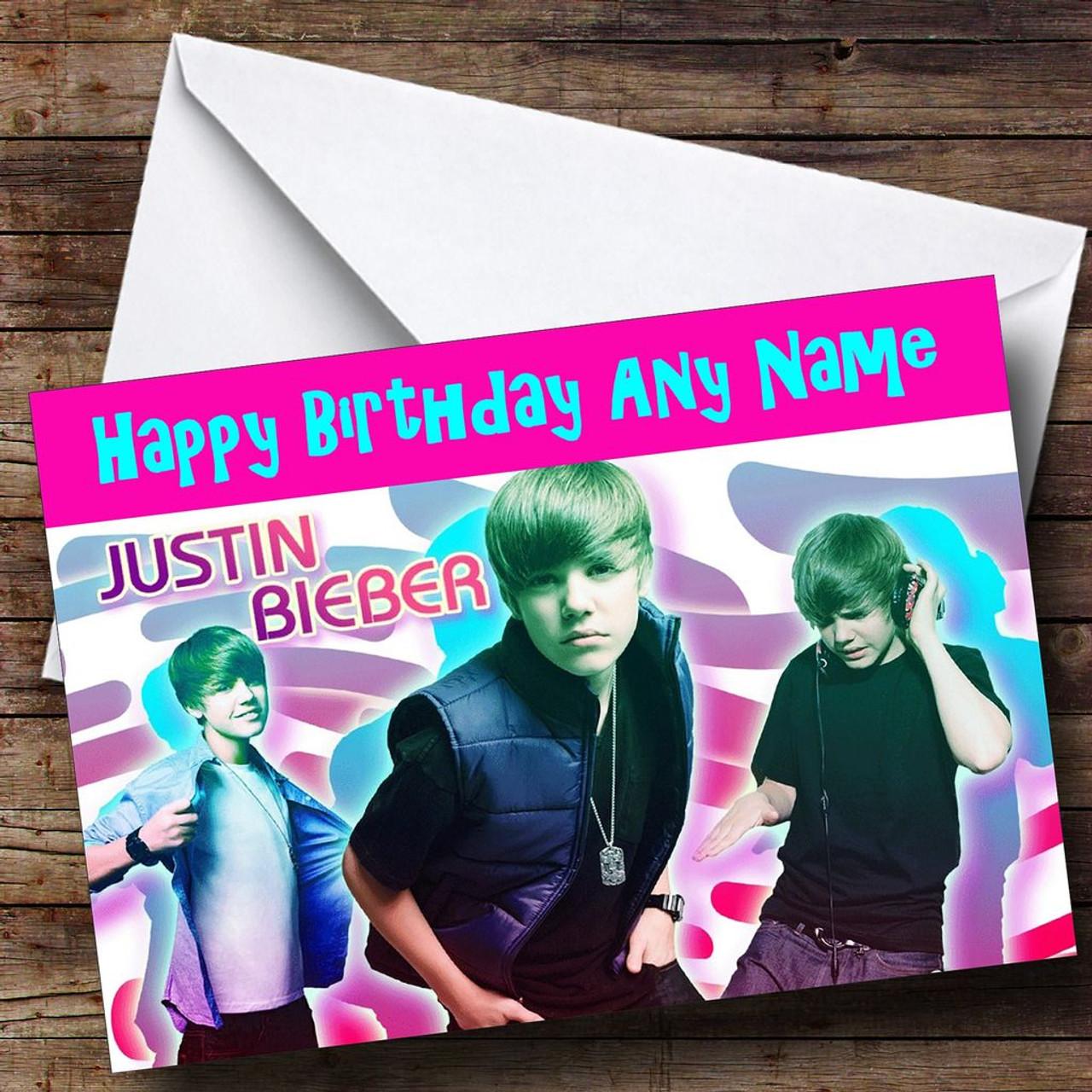 Pink Justin Bieber Card Personalised Birthday