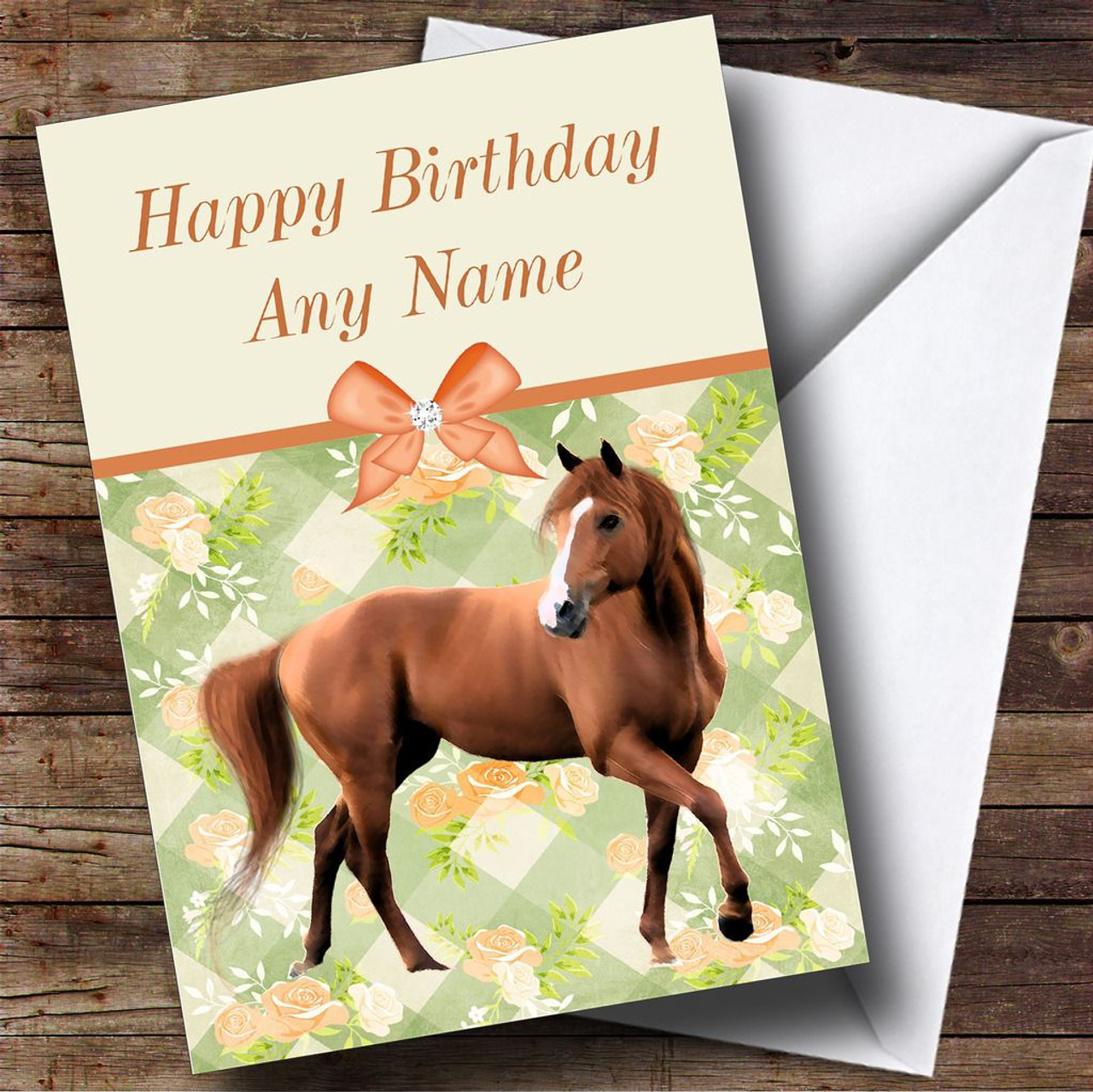 Peach Roses Horse Personalised Birthday Card