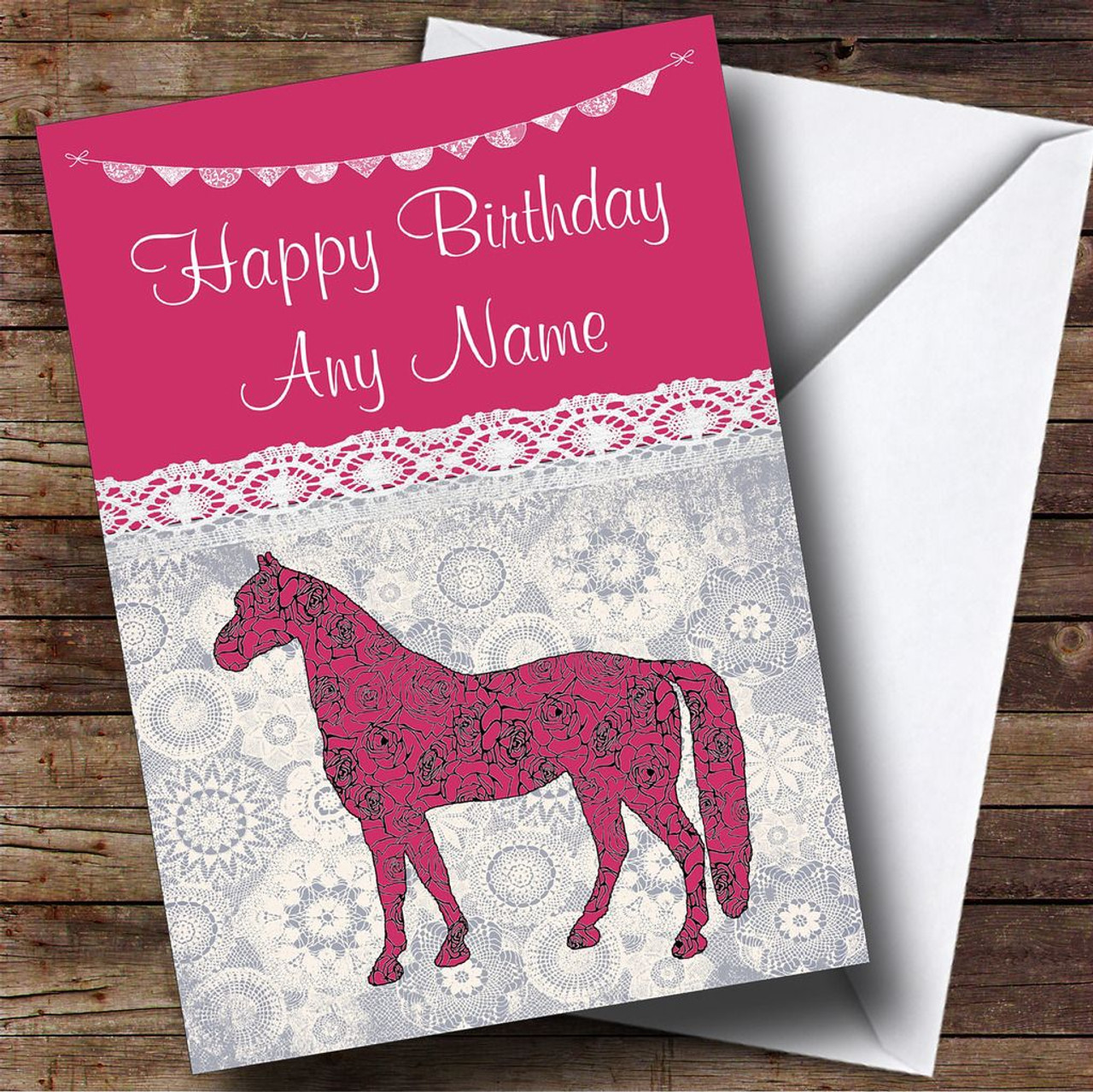 Lace Bunting Horse Pink Personalised Birthday Card