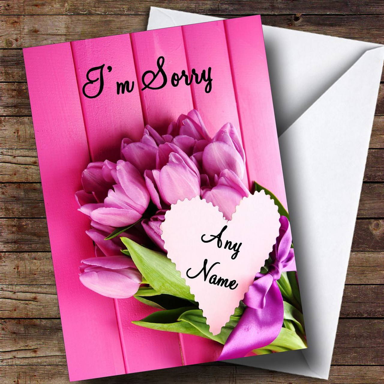 pink bunch of flowers personalised sorry card the card zoo