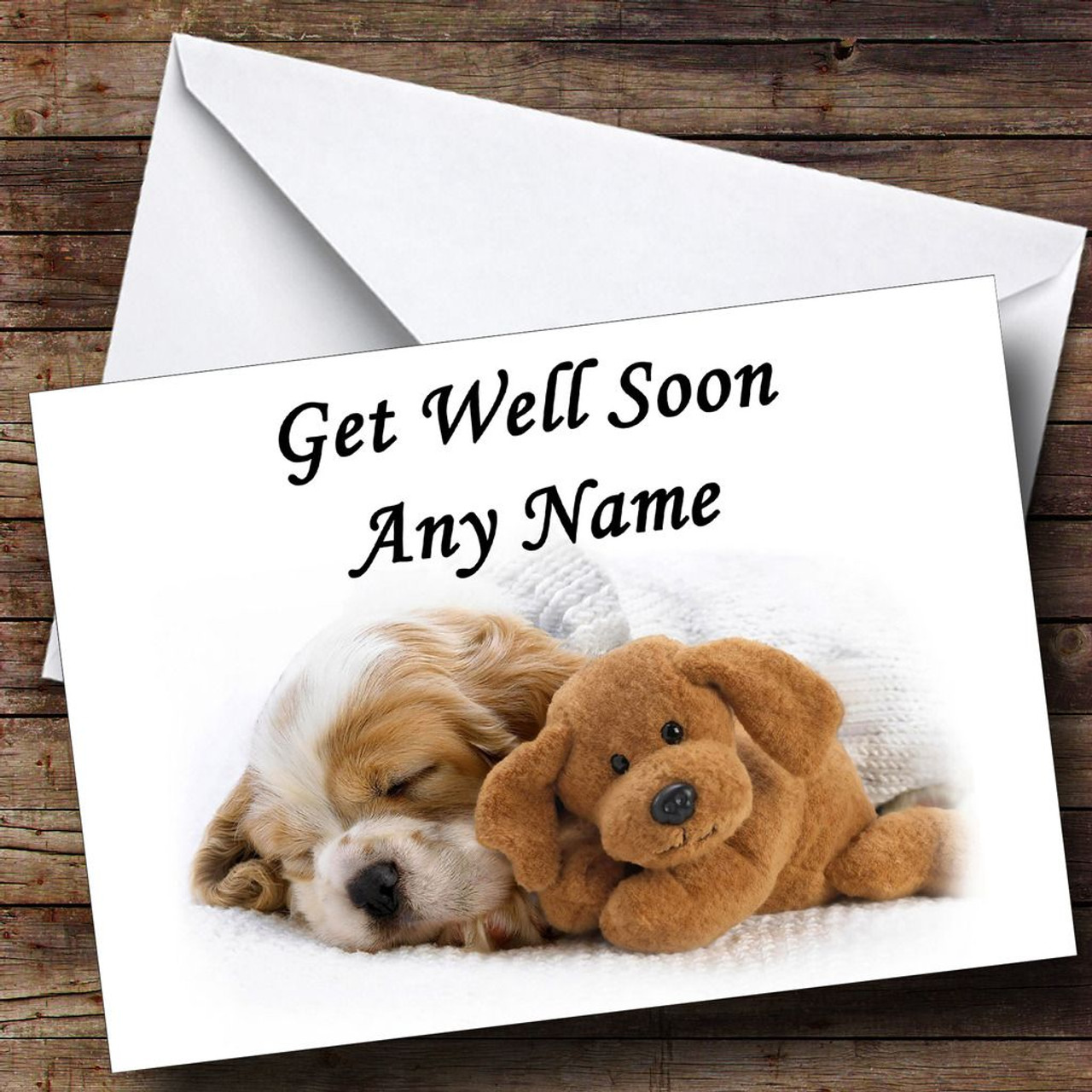 Well known Puppy Dog And Teddy Personalised Get Well Soon Card - The Card Zoo KX02