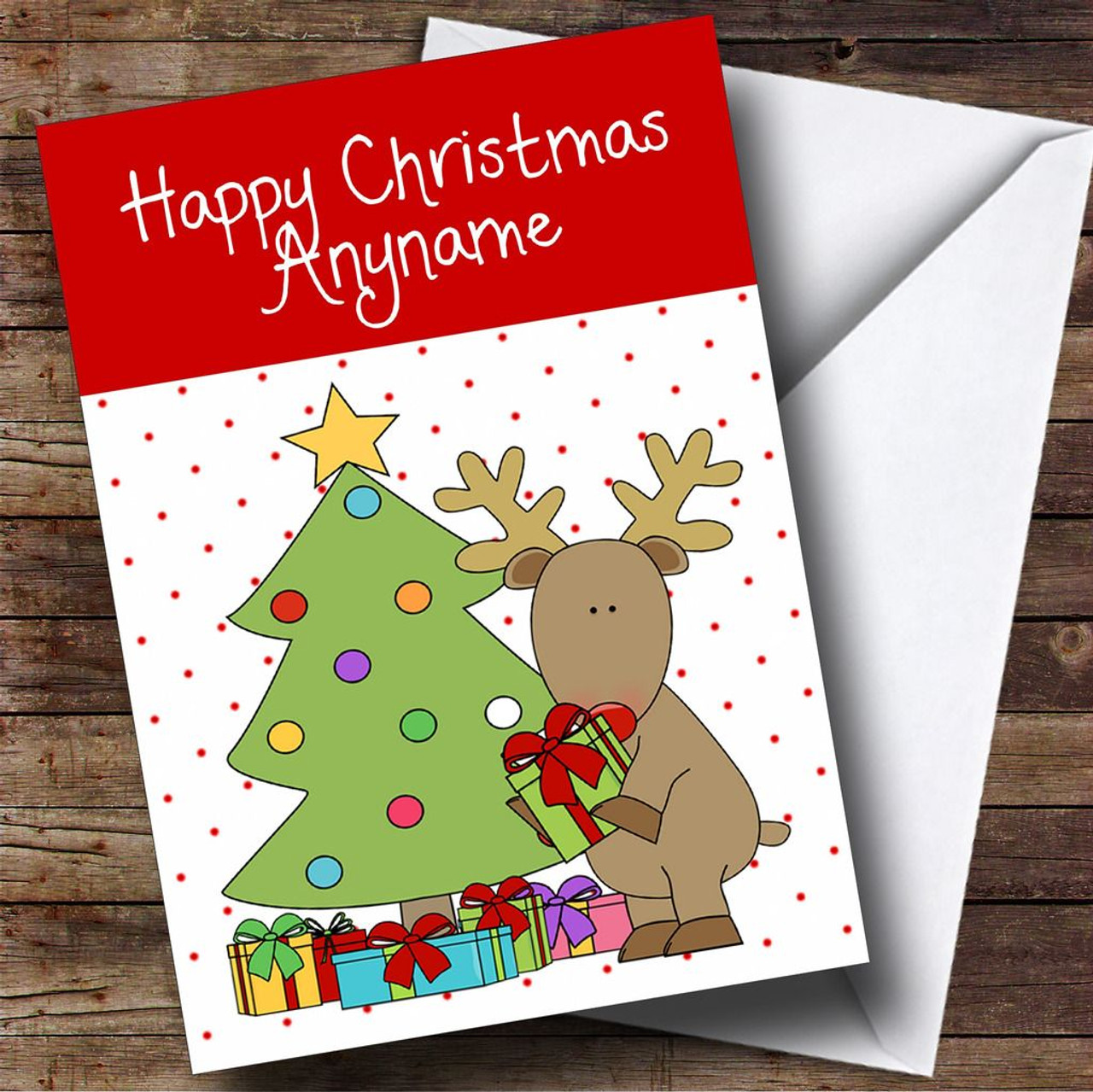 Christmas Presents Under Tree.Spotty Reindeer Presents Under Tree Children S Personalised Christmas Card