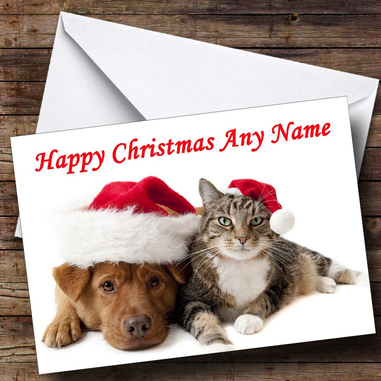Dog Christmas Cards.Cat And Dog Christmas Card Personalised
