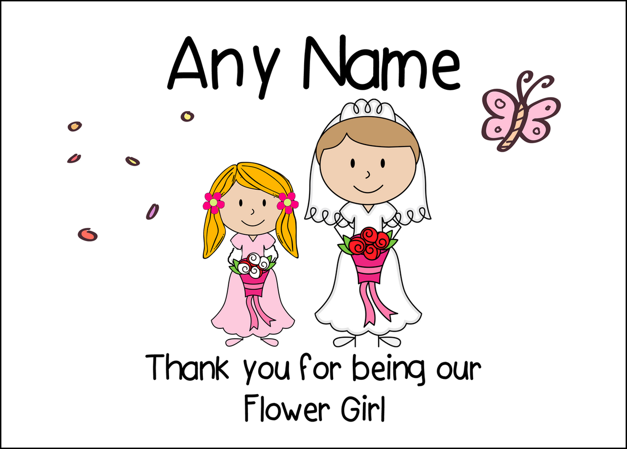 Thank You Flower Girl Personalised Printed Certificate The Card Zoo