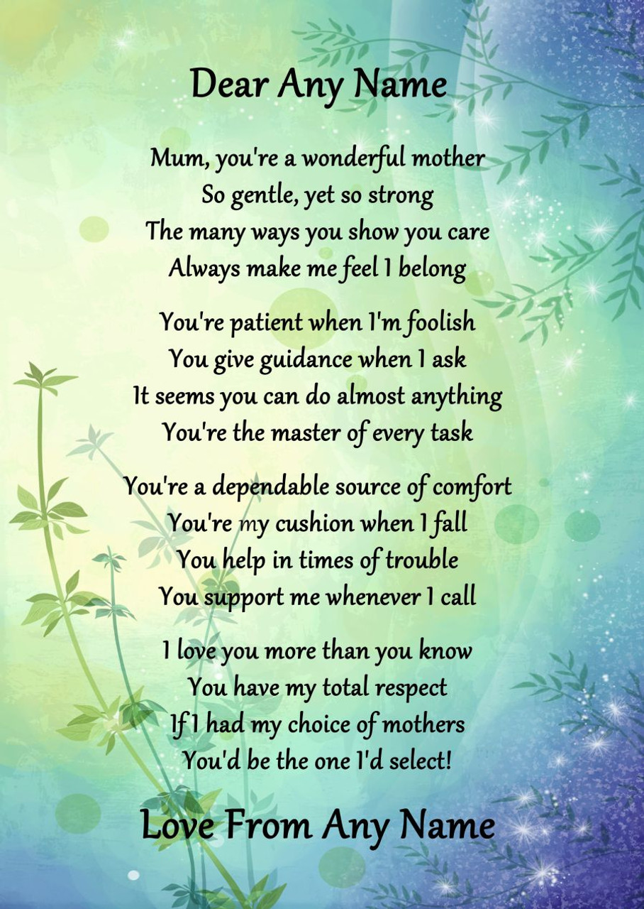 Ideal Green & Blue Wonderful Mother Personalised Poem Certificate - The  DB24