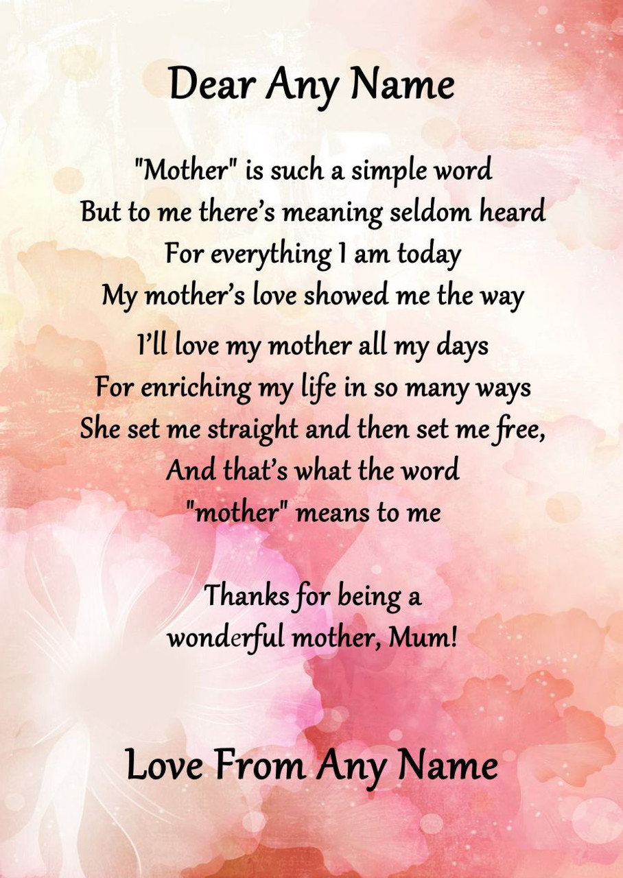 Lovely Pink Floral What Mother Means Personalised Poem Certificate - The  BM45