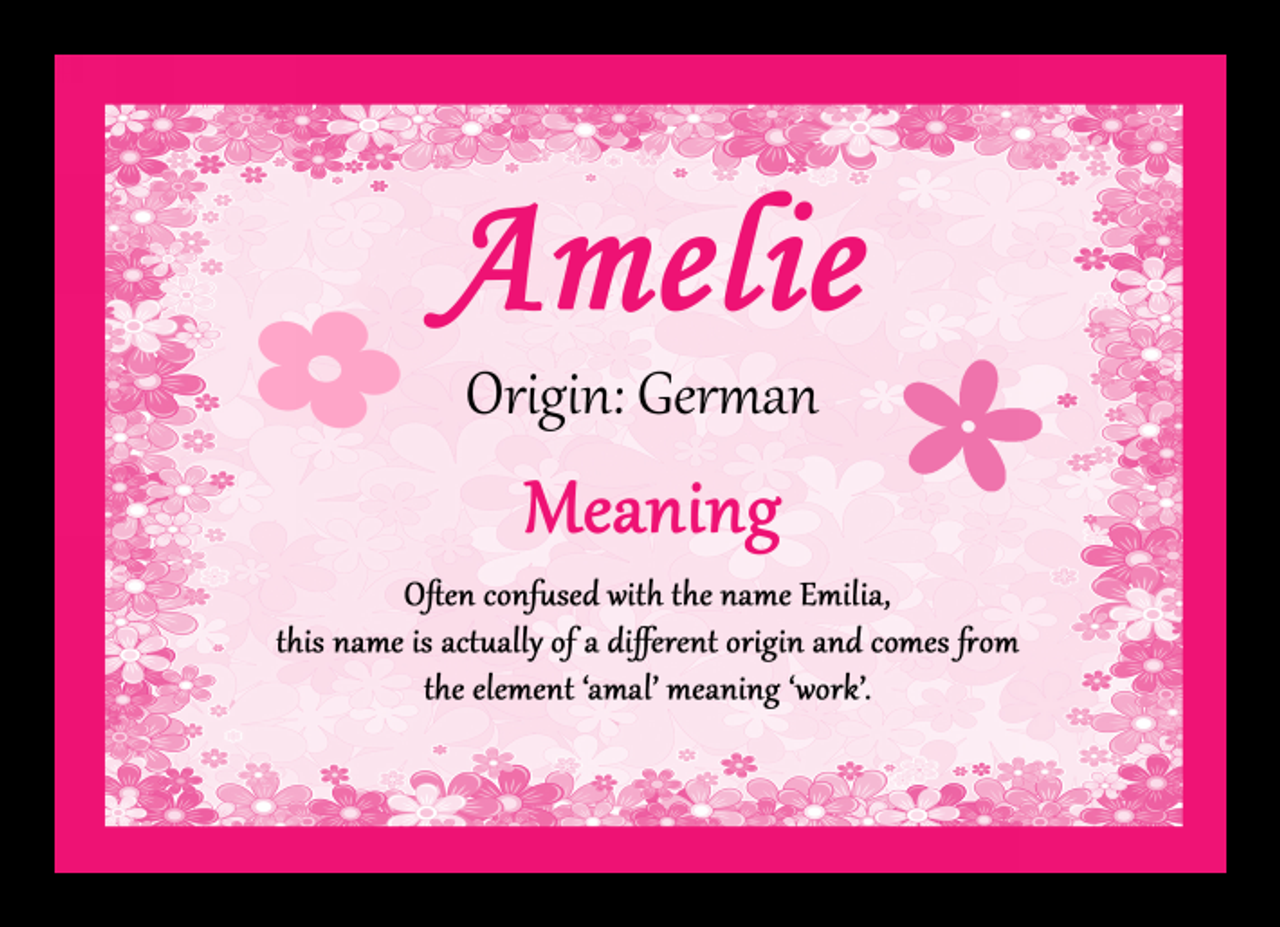 Amelie Personalised Name Meaning Mousemat The Card Zoo