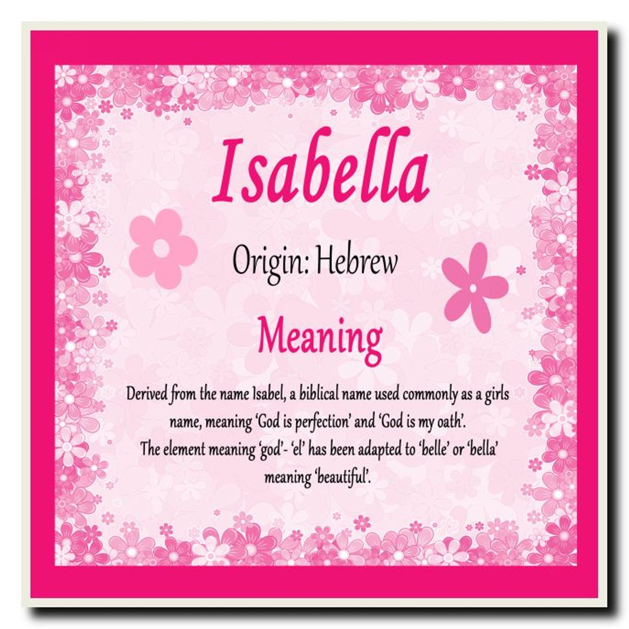 Isabella Personalised Name Meaning Coaster The Card Zoo