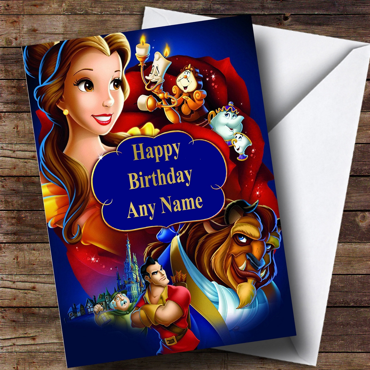 Personalised Disney Beauty And The Beast Blue Childrens Birthday Card