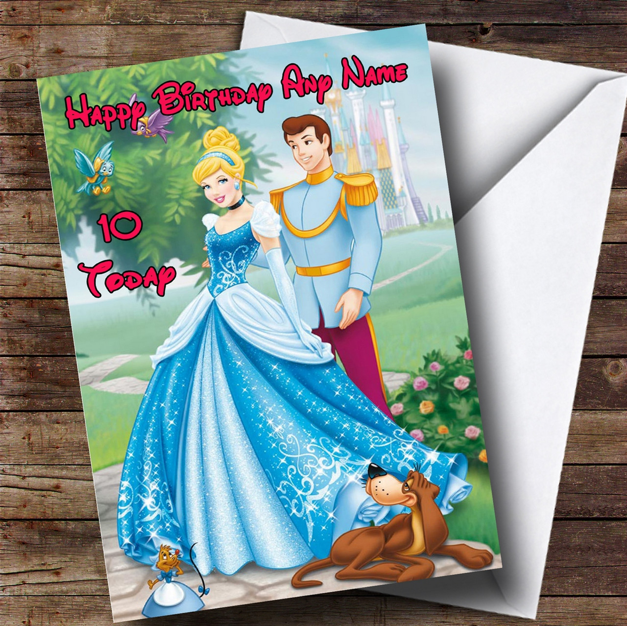 Personalised Disney Cinderella Princess Childrens Birthday Card