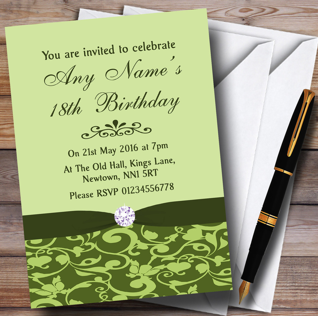 Olive Green Vintage Floral Damask Diamante Personalised Birthday Party Invitations