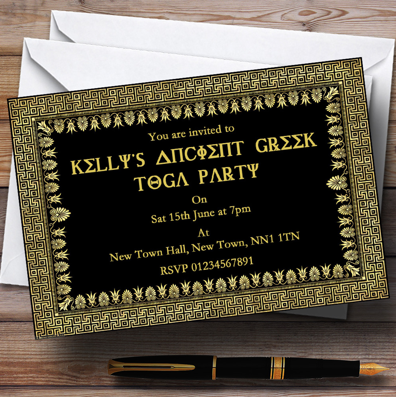 Ancient greece greek toga personalised party invitations the card zoo ancient greece greek toga personalised party invitations reheart Image collections