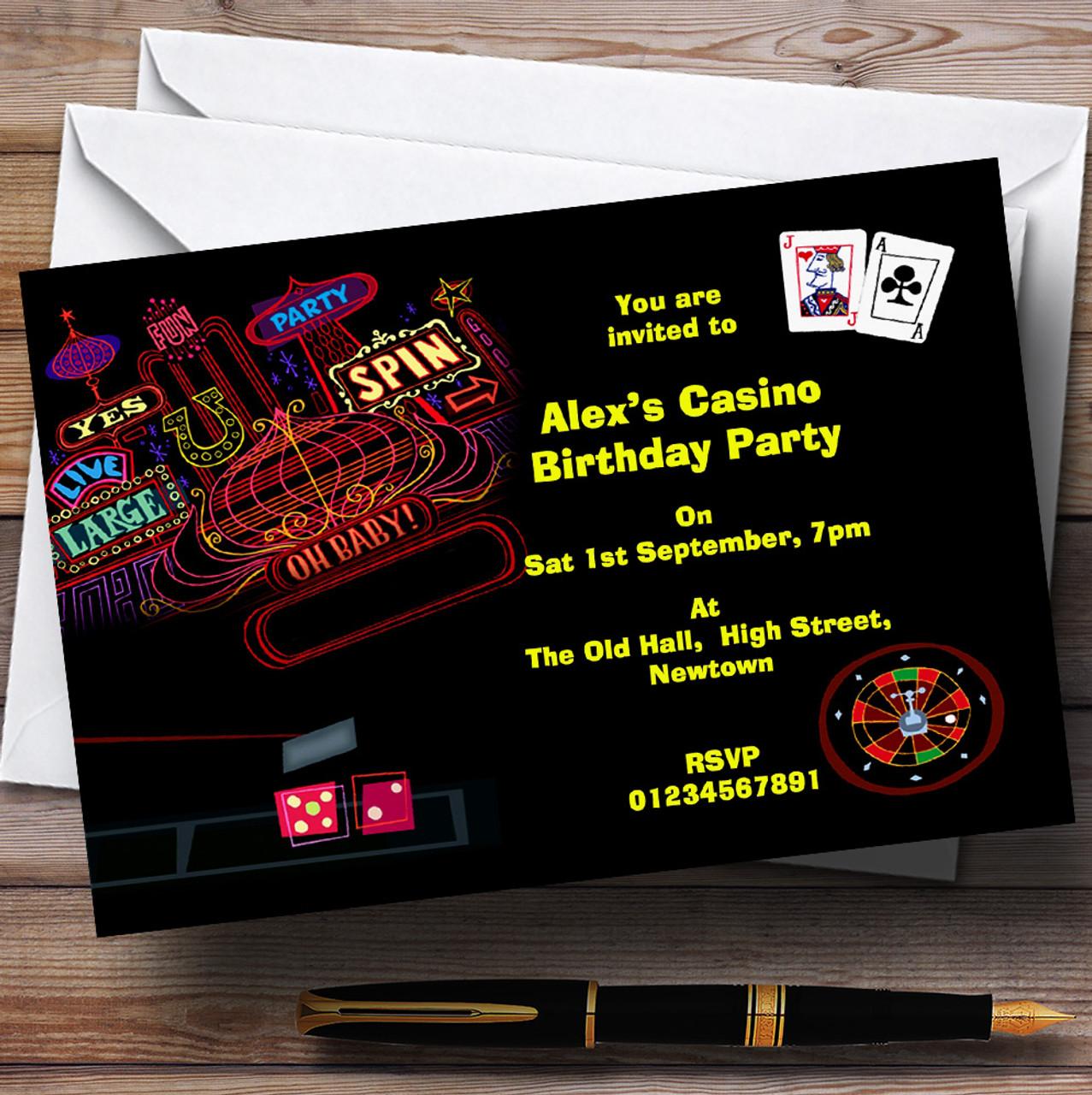 Las Vegas Casino Theme Personalised Birthday Party Invitations