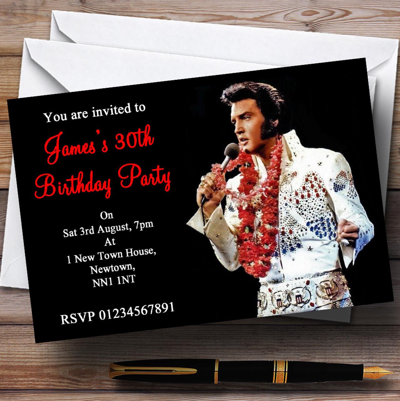 Elvis presley red personalised party invitations the card zoo elvis presley red personalised party invitations filmwisefo