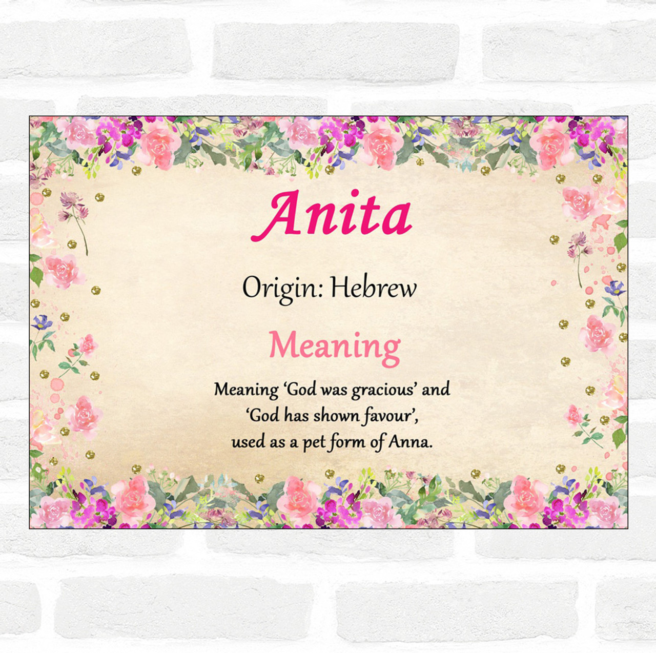 Anita Name Meaning Floral Certificate The Card Zoo