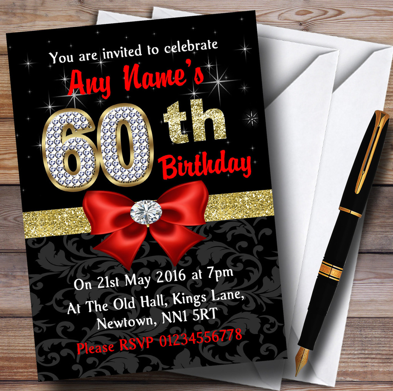 Red Black Gold Diamond 60Th Birthday Party Personalised Invitations ...