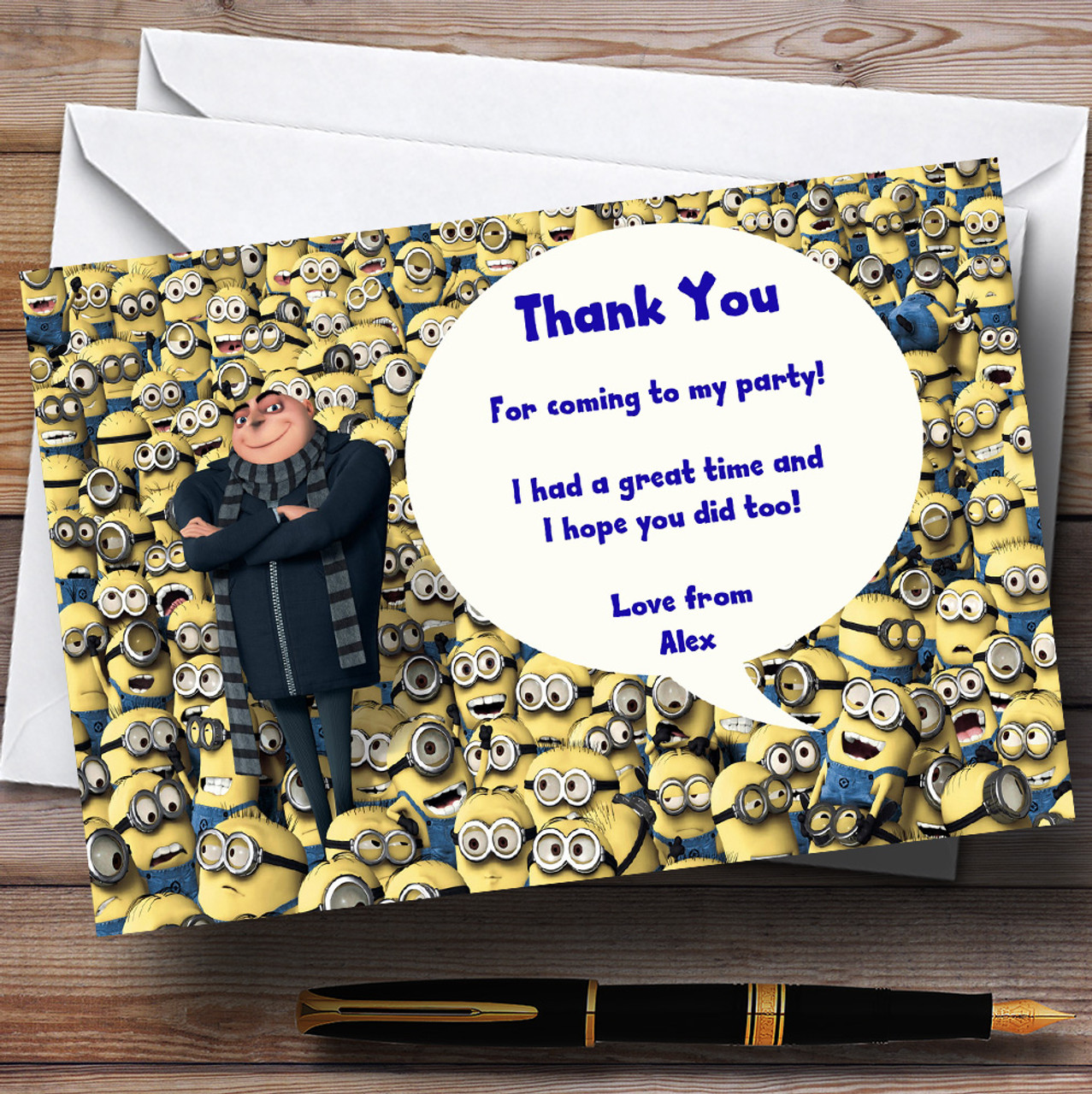 Despicable Me Minions Personalised Children S Party Thank You Cards