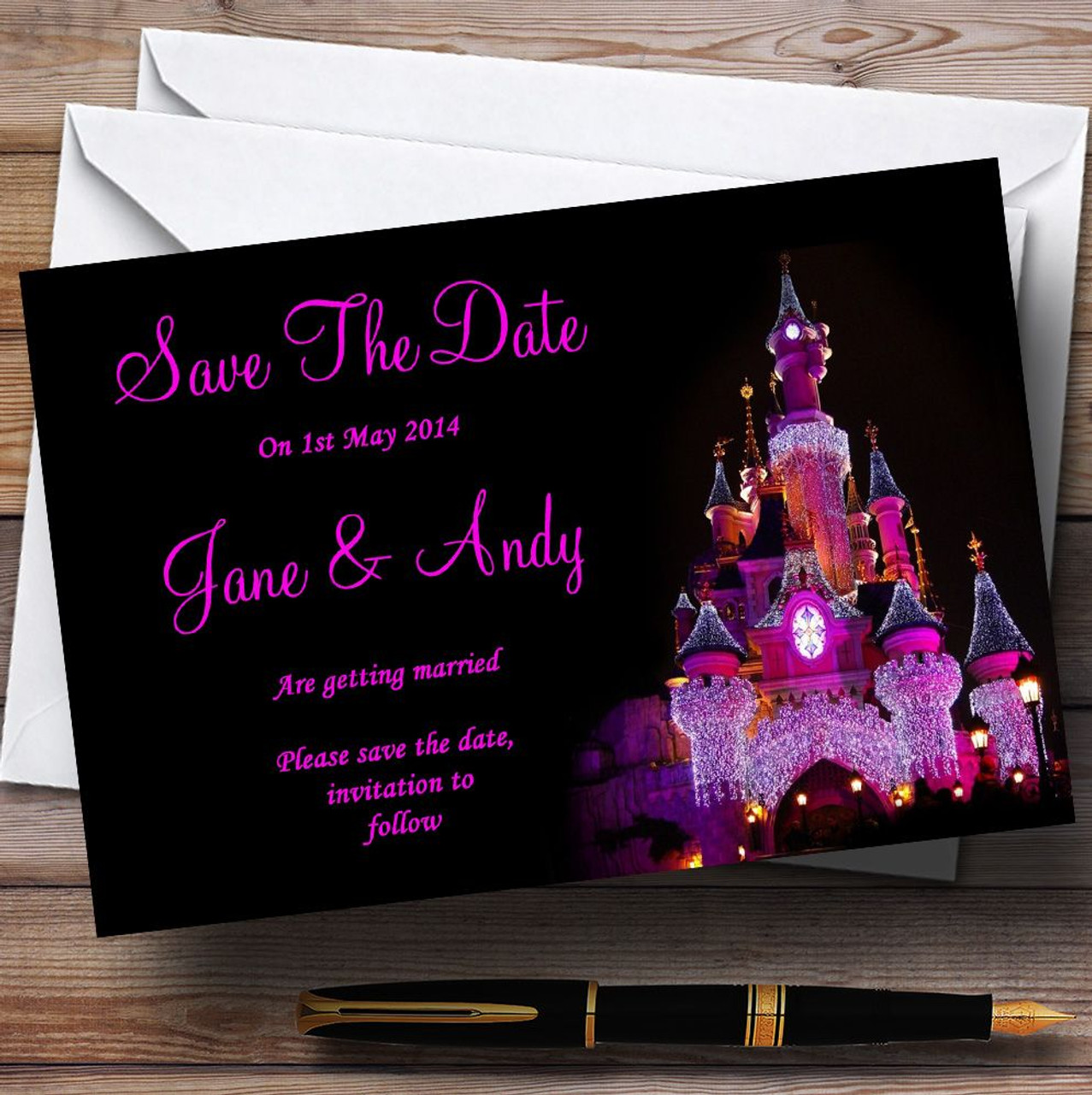 Favorite Pink Disney Castle Personalised Wedding Save The Date Cards - The  RC88