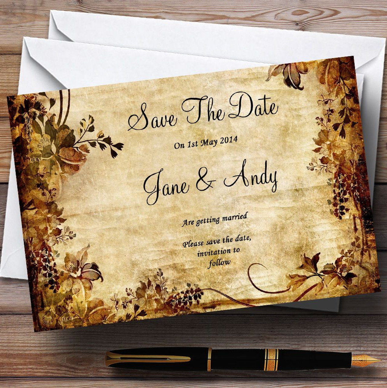 autumn colours vintage personalised wedding save the date cards