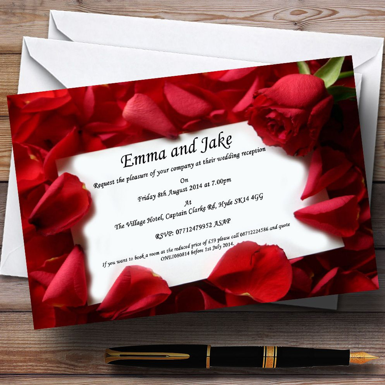 Wedding Invitations With Red Roses: Red Rose Love Note Personalised Wedding Invitations
