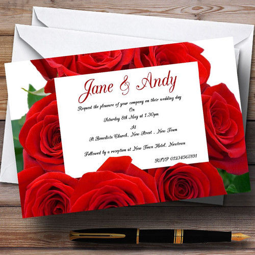 Wedding Invitations With Red Roses: Red Rose Love Letter Personalised Wedding Invitations