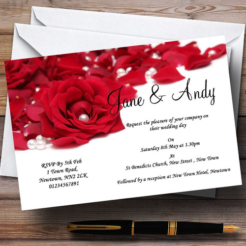 Wedding Invitations With Red Roses: White Pearl Red Rose Petals Personalised Wedding