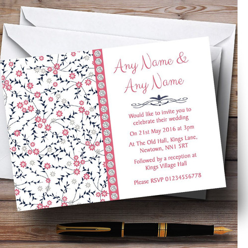 Pink And Navy Blue Wedding Invitations: Dusty Coral Pink And Navy Blue Floral Personalised Wedding
