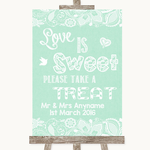 8d9d9179e Green Burlap   Lace Love Is Sweet Take A Treat Candy Buffet Wedding Sign