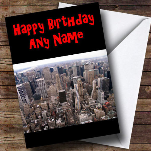 Usa New York America Skyline Personalised Birthday Card
