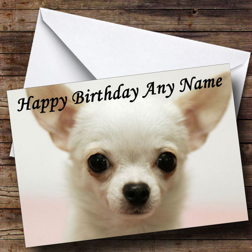 White Chihuahua Dog Personalised Birthday Card The Card Zoo