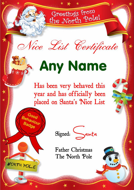Personalised Prints Christmas Certificates Page 1 The Card Zoo