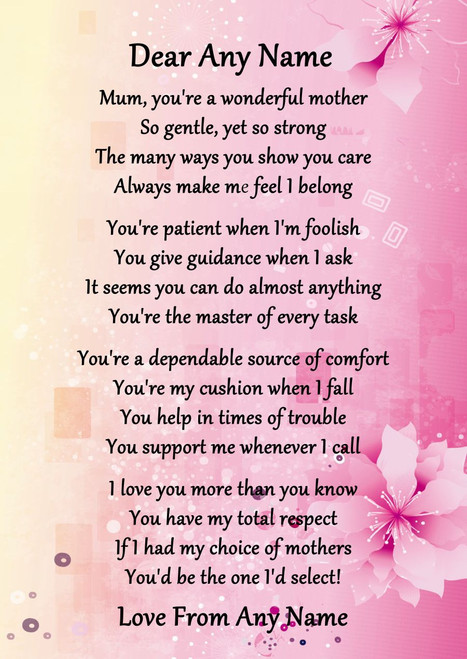 Popular Pink & Yellow What Is A Mother Personalised Poem Certificate - The  UK27