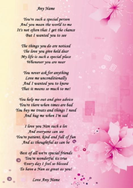 Pink Flowers Nan Poem Award Personalised Certificate The