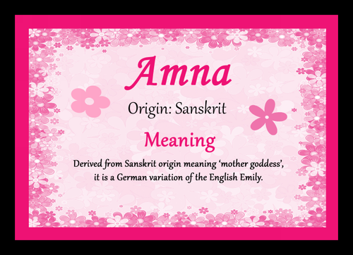 Amna Personalised Name Meaning Placemat - The Card Zoo