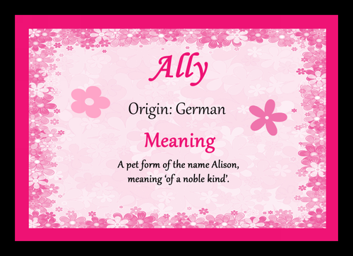 Ally Personalised Name Meaning Mousemat The Card Zoo