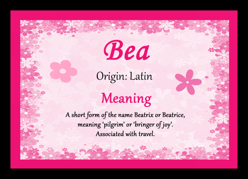 Bea Personalised Name Meaning Mousemat The Card Zoo
