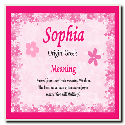 Sophia Personalised Name Meaning Certificate - The Card Zoo