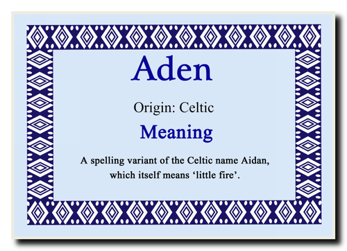 Aden Personalised Name Meaning Jumbo Magnet - The Card Zoo