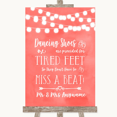 969261bed Coral Watercolour Lights Dancing Shoes Flip-Flop Tired Feet Wedding Sign