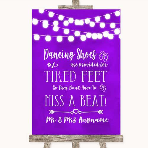 c82d5da8c Purple Watercolour Lights Dancing Shoes Flip-Flop Tired Feet Wedding Sign