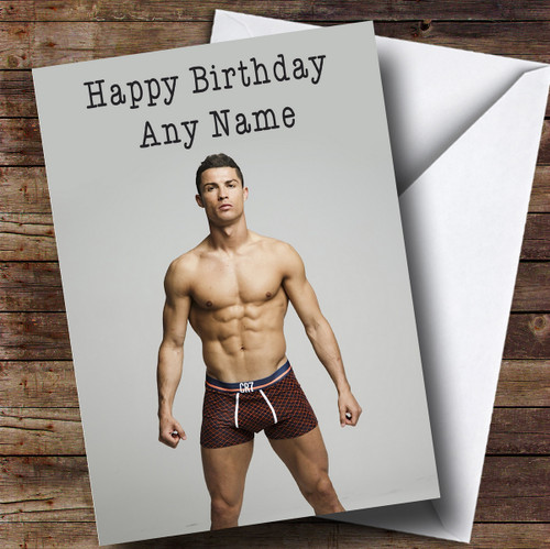 Personalised Cristiano Ronaldo Topless Celebrity Birthday Card The